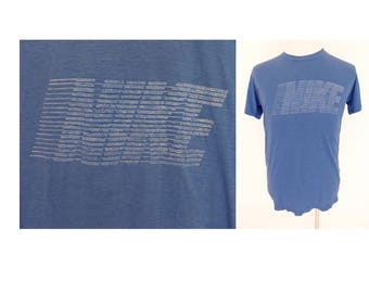 Vintage NIKE made in USA paper thin  blue big logo 50/50