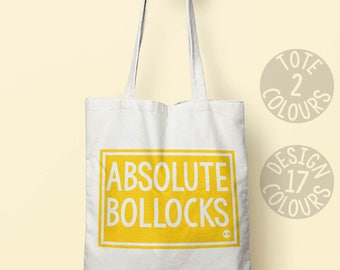 Absolute Bollocks, cotton tote bag, eco friendly bag, retro personalised gift for her, activist, mum, christmas gift, grl pwr, politics