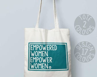 Empowered Women Empower Women cotton tote bag, personalized gift for women, gift for her, british protest, american good cause, feminist af
