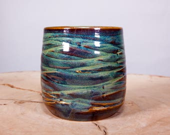 Forest Green Wave Handmade Coffee Pottery Cup