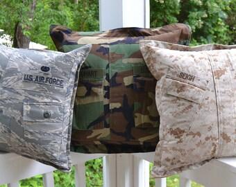 Custom Military Uniform Pillow Cover (Navy, Marine Corps, Army, Air Force, Coast Guard)
