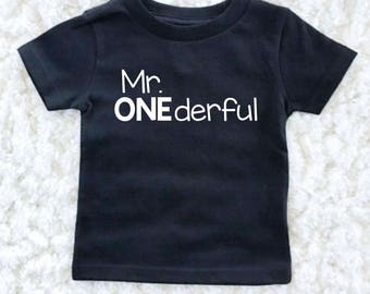 Mr Onederful Birthday Shirt - First Birthday Boy Outfit - Birthday Boy - 1st Birthday - First Birthday Boy Shirt