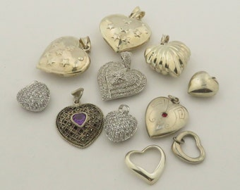 14 Silver Vintage Unique Assortment & Sizes of Hearts w/ Engraving / Stones / Hinged / Lockets / Pendants / 14.