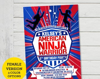 American Ninja Warrior Girls Invitation ANW Invite Birthday Party Ninja Warrior Invitations Parkour Obstacle Course Party Invite (Evite)