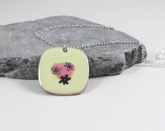 Flower Enamel Pendant, Yellow Enamel and Copper Minimalist Necklace, Nature Lover Necklace, Easter Gift, Mothers Day Gift for Her