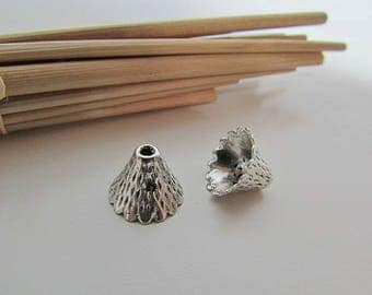 8 bead cone 9 x 12 mm antique silver metal - hole 1.5 mm - 424.33