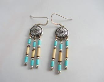 Vintage Southwestern Native American Style Sterling Silver Concho Earrings With Turquoise, Sterling Silver Beads, Porcupine Quill  Dangles