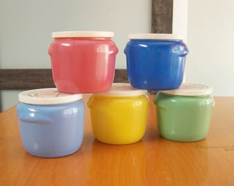 Vintage Glasbake Honey Whip Jars with Lids – dark blue, light blue, green, yellow, pink – circa 1950s - neat, lovely!