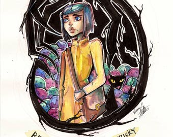 Coraline Watercolor and Ink Painting