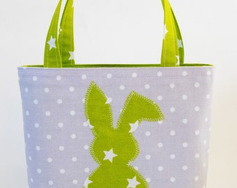 Tote bag with a green bunny with stars
