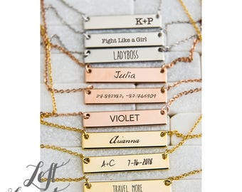 Name Necklace Pendant Personalized Hand Stamped Gift For Her Mom Mother Bar Charm Engraved Initials Monogram Rose Gold Silver Ships Fast