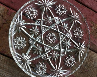 "Cut glass sawtooth rim plate 11""; American brilliant period circa 1950"