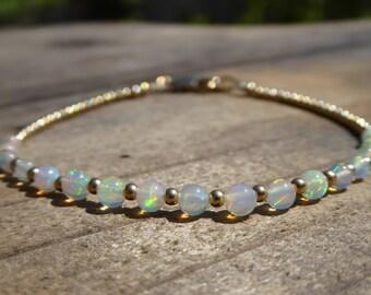 Genuine Opal & Gold Bracelet