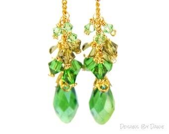 Long Green Earrings, Green Crystal Earrings, Green and Gold Earrings, Green Duster Earrings