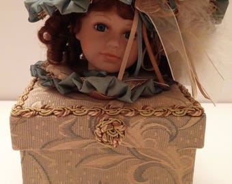 Dan Dee Collectors Choice Bisque Porcelain Doll Head Keepsake Box