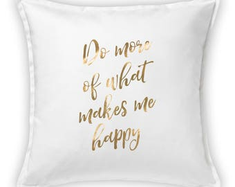 Funny pillow cover with gold vinyl lettering