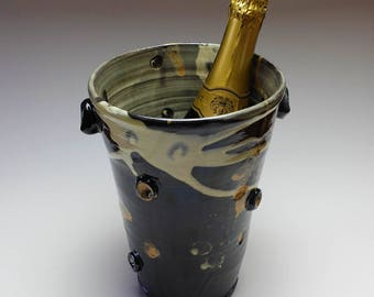 NOW SOLD ••• Now Sold •••Ceramic wine cooler, champagne cooler, ice bucket, wine bucket, wine cooler with abstract design.