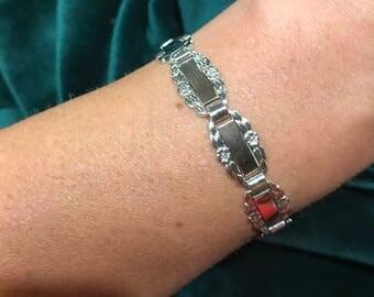 1940s Sterling Silver FORGET ME NOT Bracelet