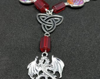 FIRE DRAGON necklace red celtic knot elves fantasy scales shine