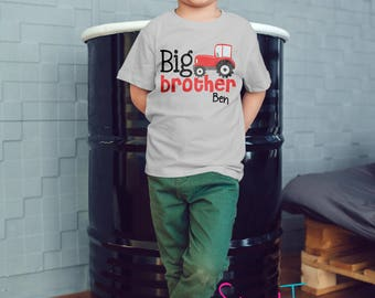 Big Brother Shirt Red Tractor Shirt Toddler Boy Personalized Kid's Shirt Pregnancy Announcement