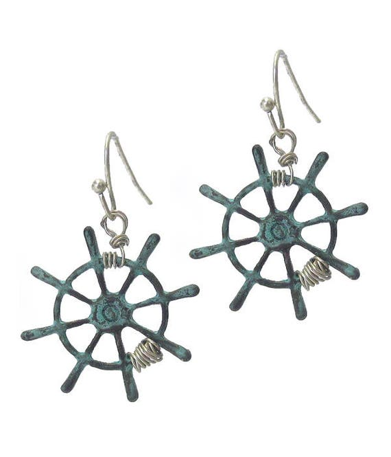 WHOLESALE-Wire  Helm Earrings , Turquoise- Silver