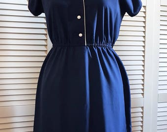 Day dress, '60s, Blue navy, Vintage