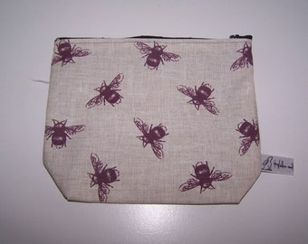 Bumble bee print wash bag, pencil case.  Purple, maroon bumble bee cosmetic bag. Gift for her, Christmas, birthday, teacher gift, present