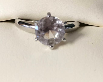 Cubic Zirconia Solitaire Ring - Size 7