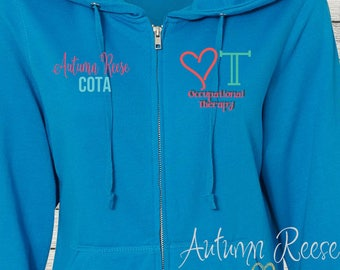 Monogrammed Ladies/Unisex Full-Zip Hooded Sweatshirt Occupational Therapy OT COTA Customized Personalized XS - 5XL Jacket