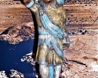 "Native American Ibdian Chief Ceramic Figurine / Statue Hand Painted, 12 1/2"" Tall"