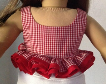 60's style top, midriff top, gingham top with ruffles, red gingham top, retro crop top, ruffled top with bias trim, flirty 60's top