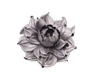 "GENUINE real LEATHER silver black rose brooch, flower pin, 3D floral brooch, 4""|Huge leather brooch, big flower brooch, leather jewelry"