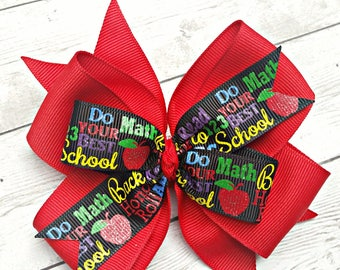 Back to School Hair Bow, Back to School Hair Clip, School Bow, School Hair Clip, Red School Hair Bow, Back to School Headband, Apple Bow
