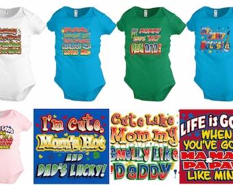 Funny Baby shirt Bodysuit Infant toddler Mommy Daddy Grandma Shower party Gift