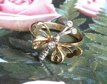 Diamond Butterfly 14K Gold Ring (size 8)