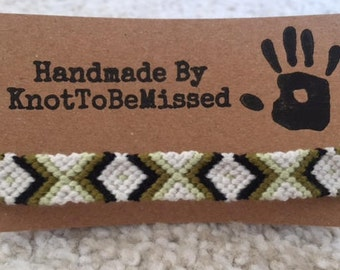 Handmade Woven Macrame Friendship Bracelet White Black Green