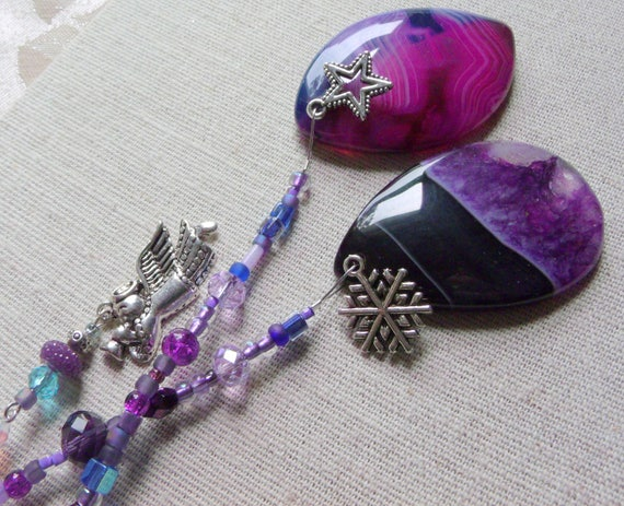 Christmas gemstone ornament - purple tree agate pendant - silver holiday charms - angel decor ideas -  black teardrop - Lizporiginals