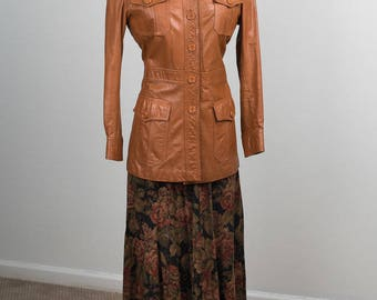 70s Leather Hunting Jacket/Trench