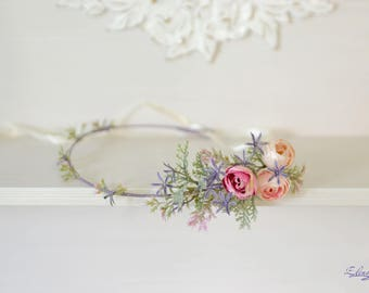 Flower crown Woodland halo tender Floral crown Wedding flowers headband Girl crown Rustic wedding hair wreath