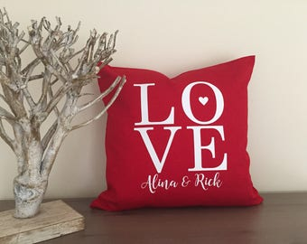 Valentines Pillow Cover Custom Pillow Throw Pillow Personalized Heart pillow valentine's day love decor Valentine 20x20 in pillow