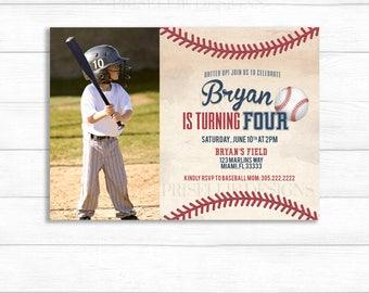 Baseball Birthday Invitation, Baseball Invitation With Photo, Baseball Baby Shower Invitation, Baseball Theme, Batter Up Baseball Birthday