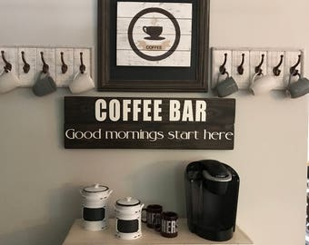 Kitchen Decor - Coffee Sign - Kitchen Wood Sign - Farmhouse Kitchen Sign - Coffee Bar Sign - Good Morning - Rustic Wood Signs - Gift for Her