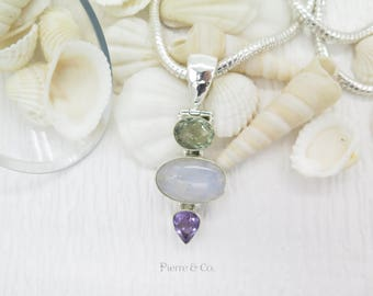 Lemon Topaz Blue shine Moonstone and Amethyst Sterling Silver Pendant and Chain
