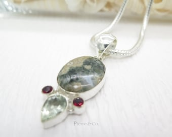 Ocean Jasper Green Amethyst and Garnet Sterling Silver Pendant and Chain