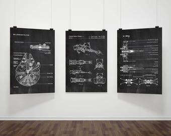Star Wars Patents Set of 3 Prints, Star Wars Prints, Star Wars Posters, Star Wars Blueprints, Star Wars Wall Art, Patent Prints Poster #P291