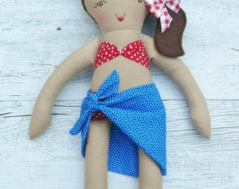 "Charlotte- Handmade beach doll, 38cm (15""), fabric doll, rag doll, gifts for girls."
