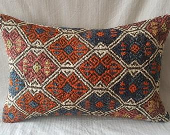 """Kilim Pillow, 16""""×24"""" İnches, Cushion Cover, Throw Pillow, Decorative Pillow, Lumbar Pillow, Ethnic Pillow, Turkish Kilim Pillow, Moroccan"""