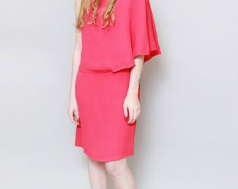 Vintage 1970's Carol Model Hot Pink Asymmetric Mini Dress