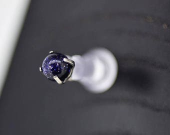 Blue Goldstone Prong Attachment labret post included