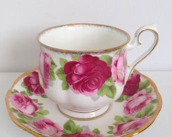 Royal Albert Old English Rose Cup and Saucer Bone China England